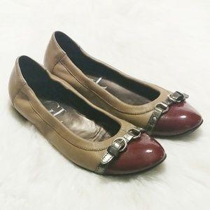 AGL Candy Apple/Tan Cap Toe Ballet Flats